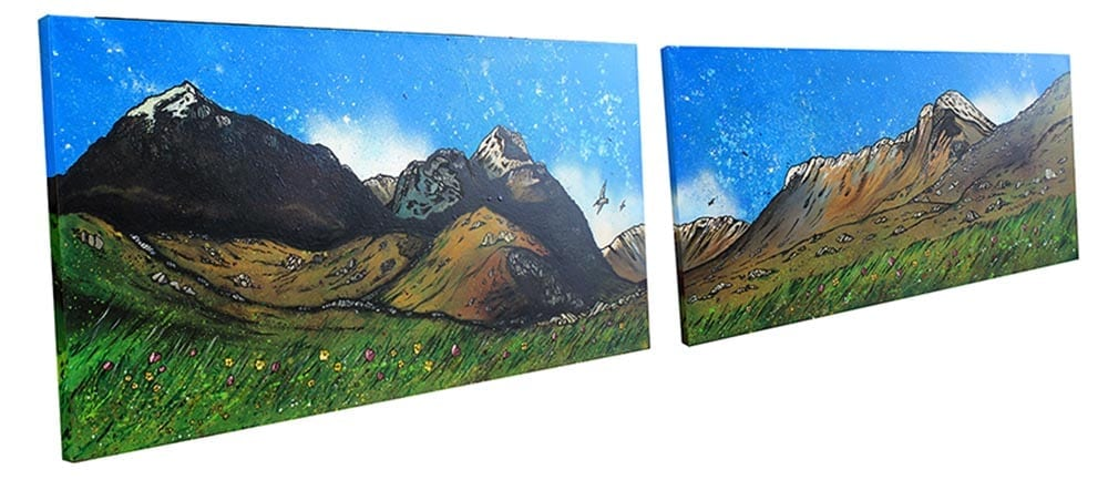 commissioned painting of Glencoe, & The Three Sisters, Scottish Highlands.
