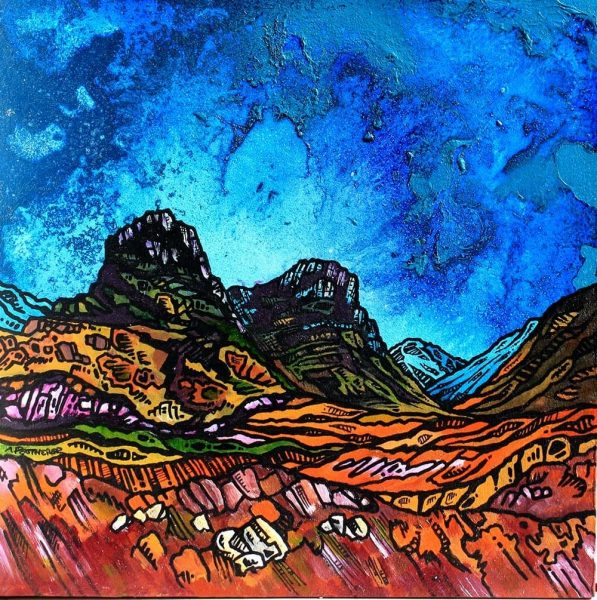 painting and prints of Glencoe and The Three Sisters Of GlenCoe, Aonach Dubh, Gearr Aonach and Beinn Fhada, Western Highlands (Argyll), Scotland.