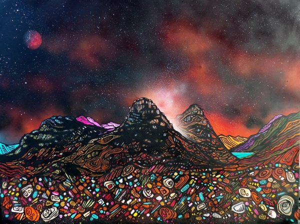 painting of a Blood moon over The Three Sisters Of Glencoe, Scottish highlands.