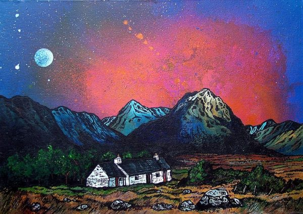 Painting and prints of Glencoe Black Rock Cottage and Buachaille Etive Mor, Stob Dearg, Rannoch Mor, Scottish Western Highlands.