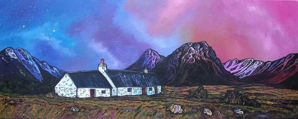 painting & prints of Glencoe, The Black Rock Cottage & Buachaille Etive Mor, Stob Dearg, Scottish Western Highlands.