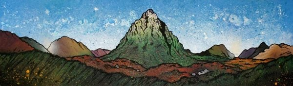 Painting and prints Glencoe, of Buachaille Etive Mor, Stob Dearg, Glen Etive, Scottish Highlands.