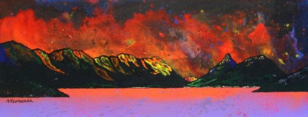 painting and prints of Pap of Glencoe, Sgorr na Ciche, Loch Leven, Argyll, Scotland.