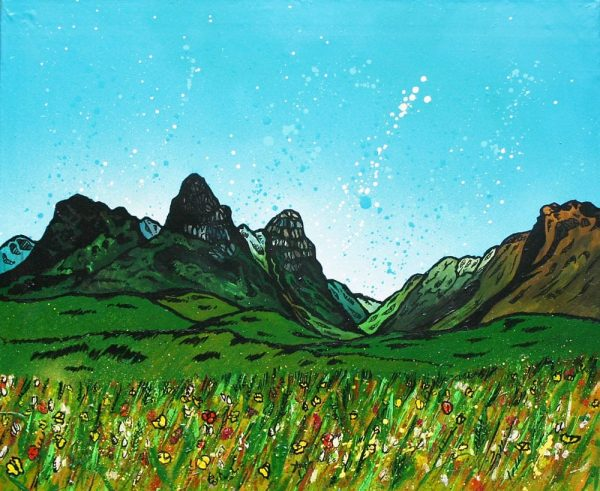 painting and prints of The Pass of Glencoe and The Three Sisters, Argyll, Scotland.