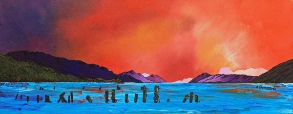 painting and prints of Loch Ness Sunset from Dores, Highlands, Scotland.
