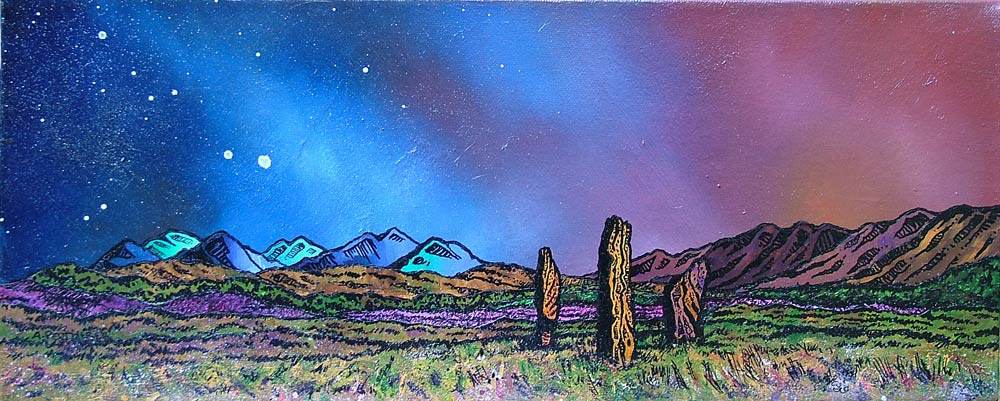 painting and prints of Machrie Moor Standing Stones, Isle of Arran, Scotland.