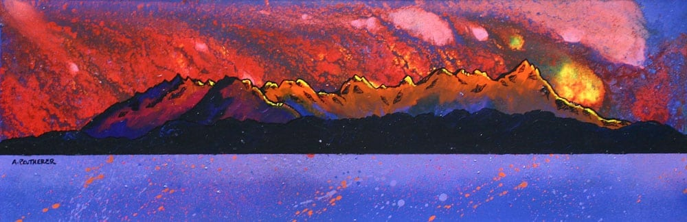 painting & prints of The Cuillin Ridge From Arasaig, Isle of Skye, Scottish Inner hebrides