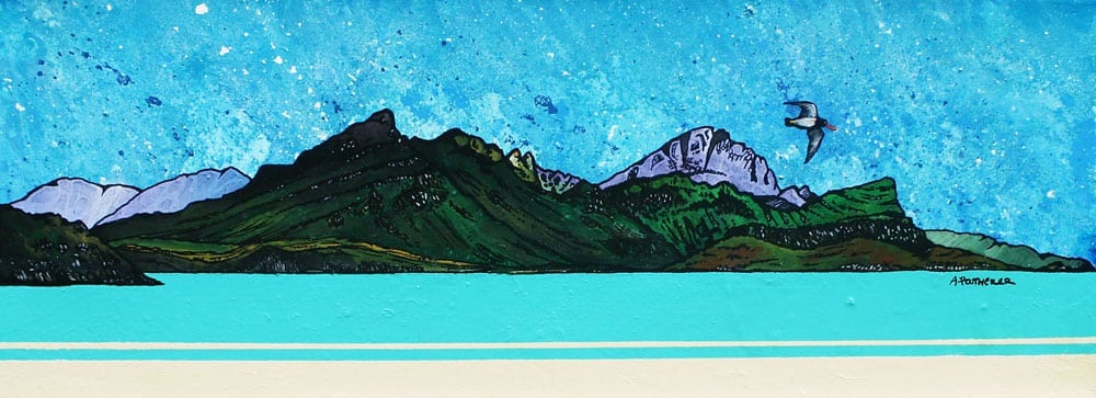 painting & prints of Ben Tianavaig, Loch Sligachan, The Isle of Skye, Scottish Inner Hebrides, Scotland.