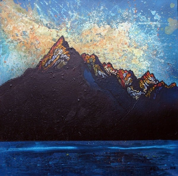 painting & prints of Cuillin mountains, Isle Of Skye, Scotland.