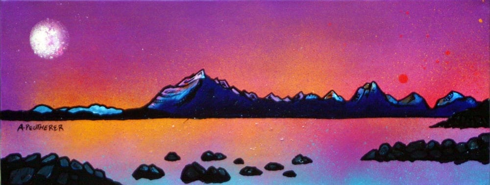 Painting & prints of Cuillin Purple Sunset, Loch Scavaig, Isle Of Skye, Inner Hebrides, Scotland. Painting and prints by Scottish contemporary landscape artist A Peutherer