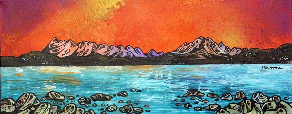 painting & prints of Ord Bay Autumn Sunset, Isle Of Skye, Scottish Western Isles.