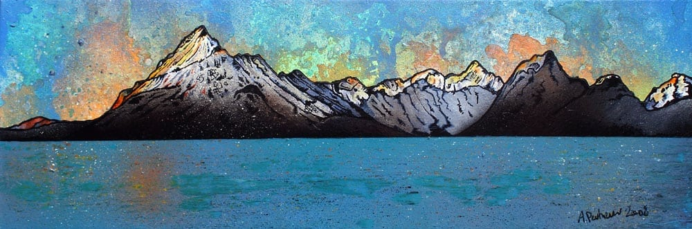 painting & prints of The Cuillin from Elgol, Loch Scavaig, The Isle of Skye, Scotland.