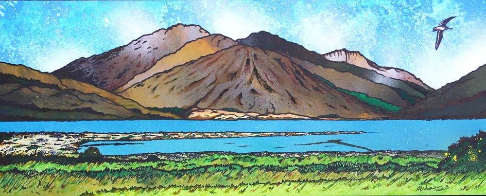 painting & prints of GlenElg , West Coast of Scotland overlooking The Isle of Skye.