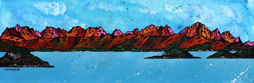 painting & prints of The Isle of Skye from Mallaig, Inner Hebrides.