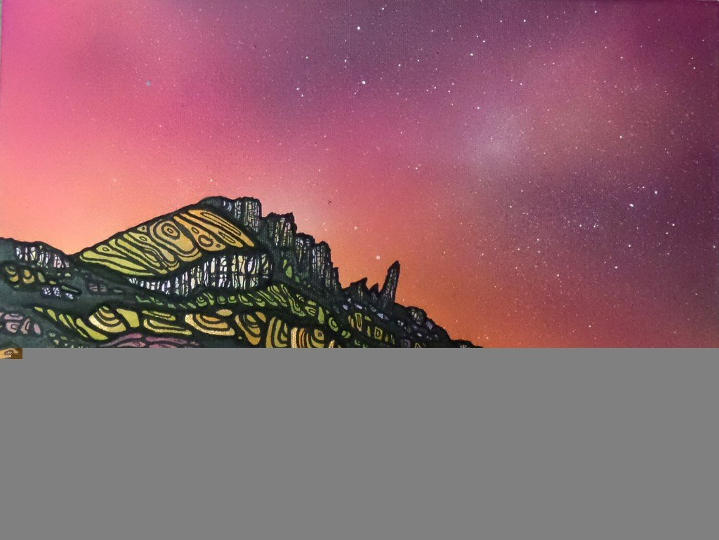painting and prints of The Old Man of Storr, Loch Fadda, Trotternish Peninsula, Isle of Skye, Hebrides, Scotland.