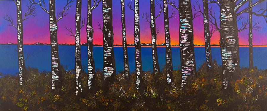 painting and prints of Loch Lomond Dusk Through The Birch Woods, Scotland.