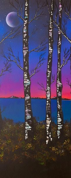 Painting and prints of Loch Lomond at dusk through Birch Trees and woods, Scotland.