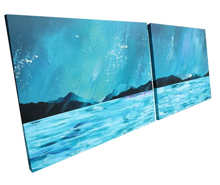 Commissioned painting of loch lomond, Scotland for a client in Amsterdam showing a panoramic view of the loch from beyond Ben lomond to below Conic Hill at Balmaha on the eastern shore.
