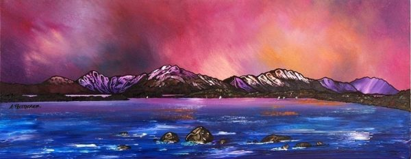 painting & prints of Loch Lomond Dusk From Near Balmaha, Trossachs, Scotland.