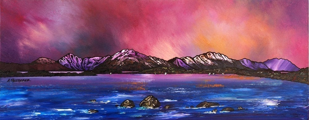 painting & prints of Loch Lomond Dusk From Near Balmaha, Trossachs, Scotland.