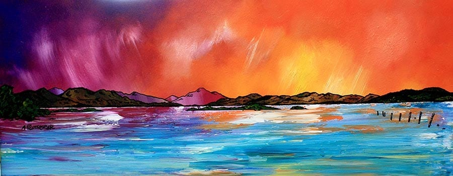painting and prints of loch lomond From luss, Scotland.