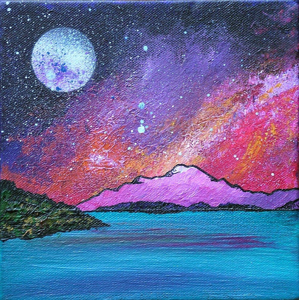 painting and prints of Ben Lomond Pink Winter Sunset, Loch Lomond, Scottish Highlands