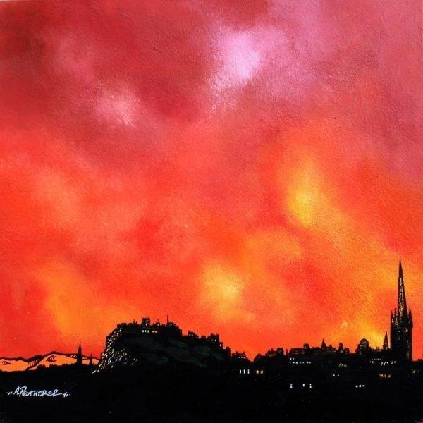 Edinburgh Paintings & Prints – Edinburgh Summer Sunset, Scotland