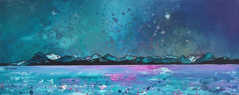 Painting & prints of The Isle of Skye from Applecross, Scottish Highlands. Painting and prints by Scottish contemporary landscape artist A Peutherer.