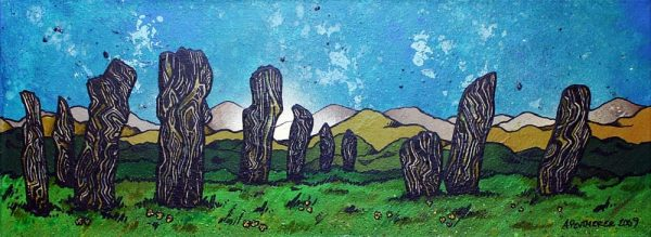 painting & prints of The Callanish Standing Stones, The Isle of Lewis, Scottish Outer Hebrides, Scotland.