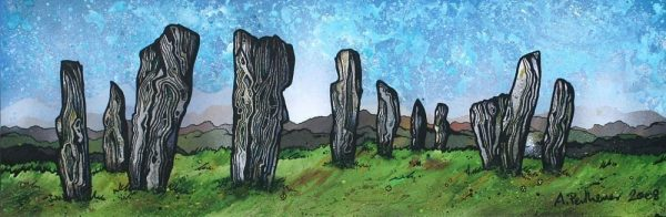 painting & prints of The Callanish Standing Stones, Calanais, Isle Of Lewis, Outer Hebrides, Scotland.