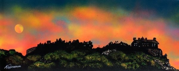 Edinburgh Paintings & Prints – Edinburgh Castle Dusk 2, Scotland – Original painting & prints.
