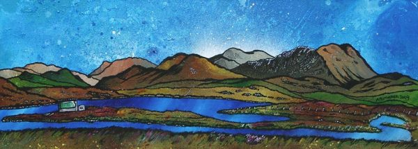 painting & prints of Laxay Fishing Estate, Lochs, Isle Of Lewis, Scottish Western Isles.