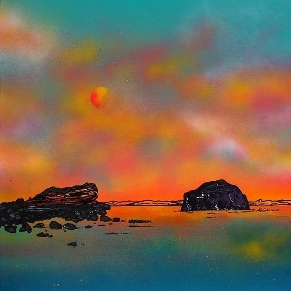 Edinburgh Paintings & Prints – Bass Rock from Seacliff Beach, Scotland, Summer Glow