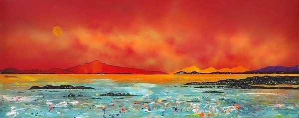 Paintings & prints of Harris – Luskintyre Bay Setting Sun, Isle of Harris, Hebrides, Scotland.