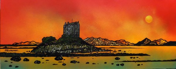 Painting & Prints of Castle Stalker, Appin, Scotland.