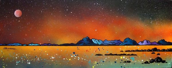 Skye Paintings & Prints – Summer Glow Over Skye from Elgol, Scottish Hebrides.