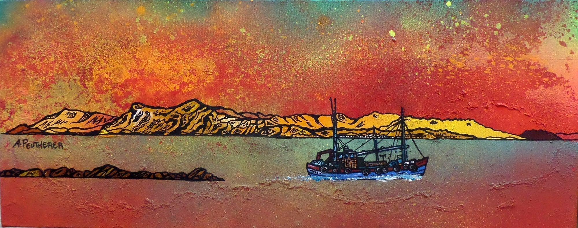 Mallaig from Skye, Scotland. Painting & prints by Scottish artist A Peutherer