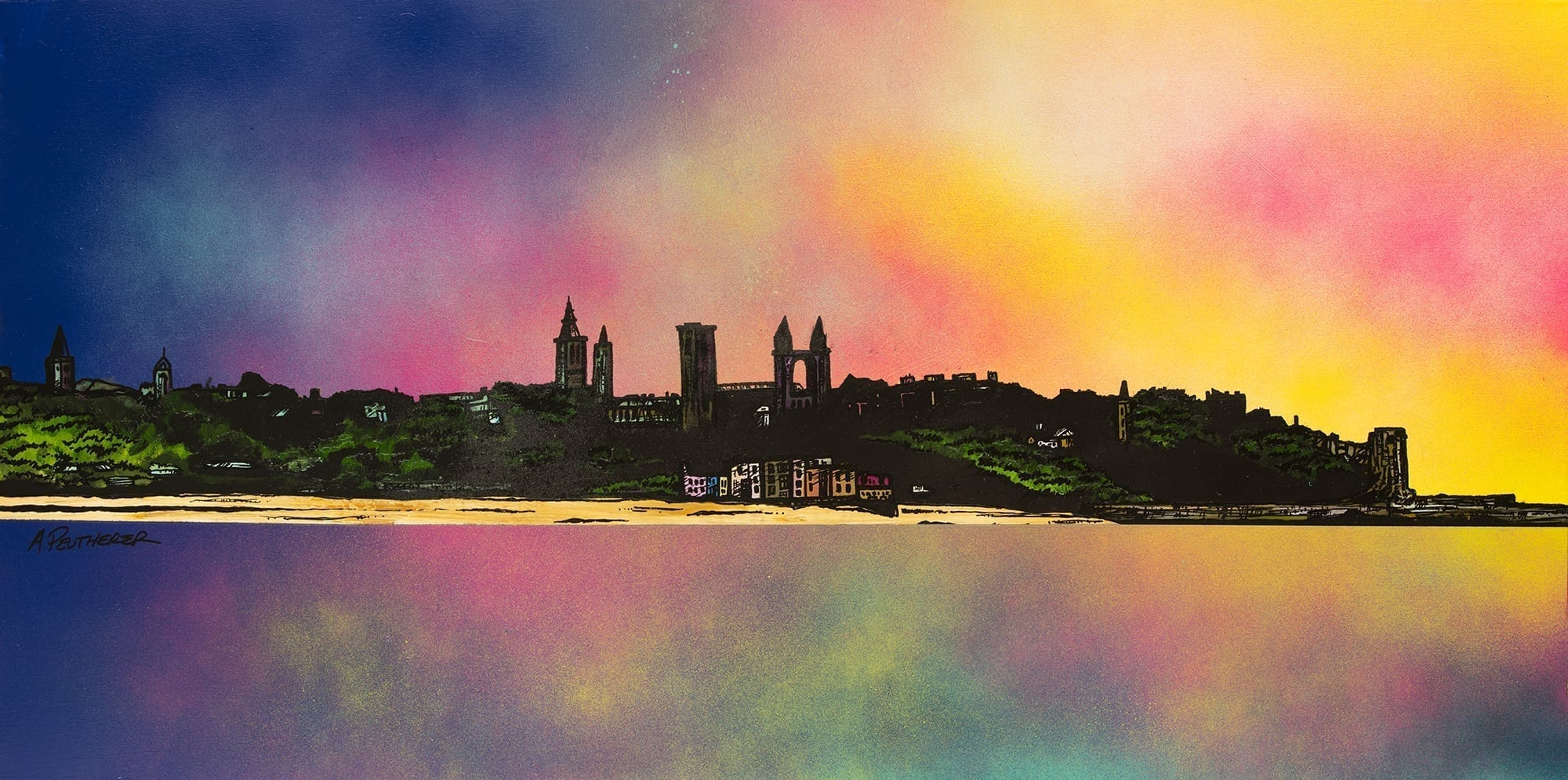 Painting & print of St Andrews, Fife, Scotland