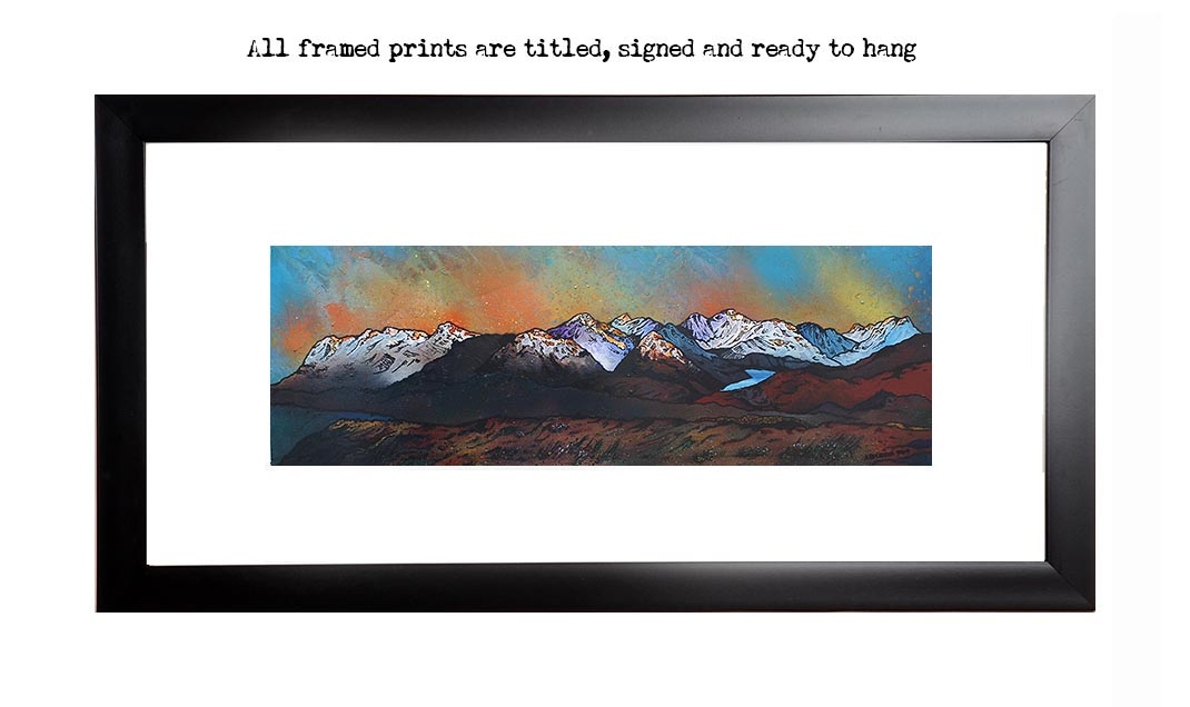 Framed print of Beinn Dearg Monaliath, Scottish highlands from an original painting