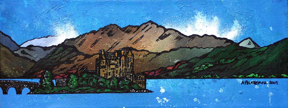 Scottish painting & prints of Eilean Donan Castle, West Highlands, Scotland.