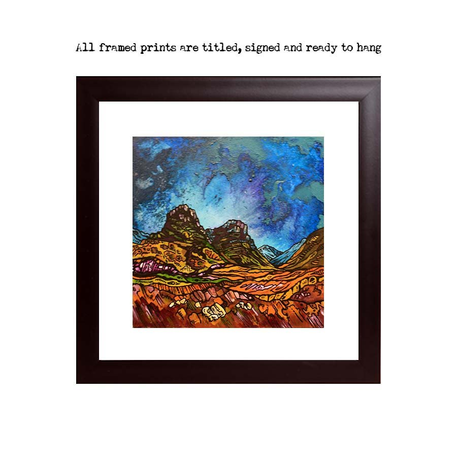 Glencoe framed print from an original Scottish landscape painting by Glasgow artist A Peutherer. Original mixed media painting in acrylic paint, spray paint, oil paint and acrylic ink on box canvas.