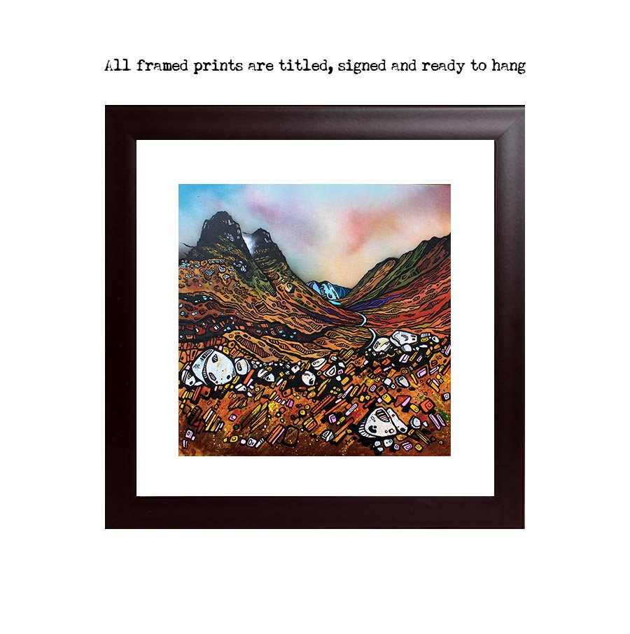 Framed print of Glen Coe & Three Sisters, Scottish highlands, Scotland. Original painting by Scottish artist A Peutherer. Acrylic, oil paint & spray paint on box canvas