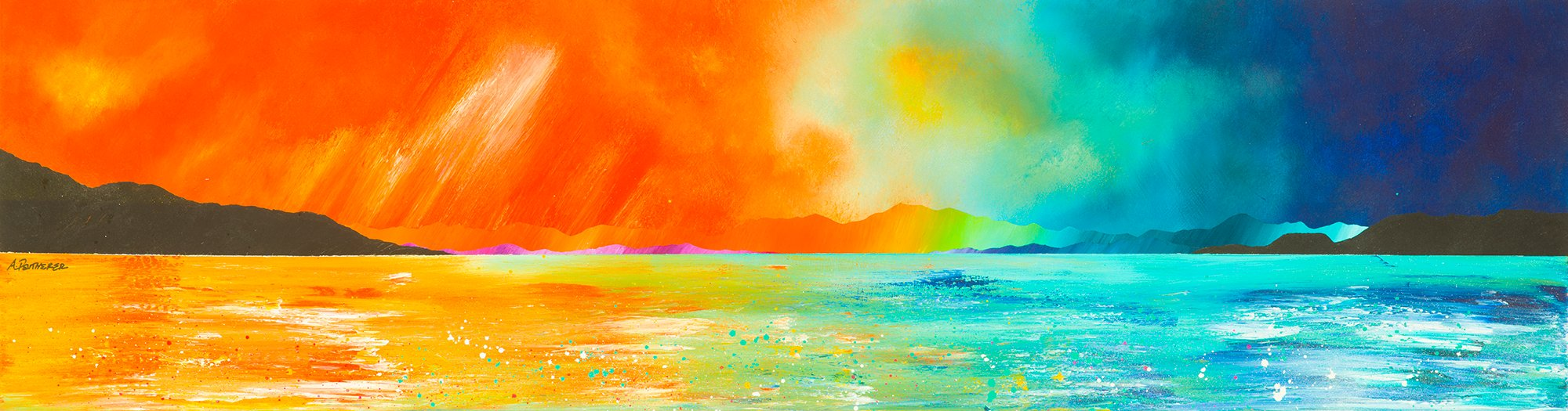 Painting & prints of The Isle of Jura from Tayvallich, Scottish Highlands.