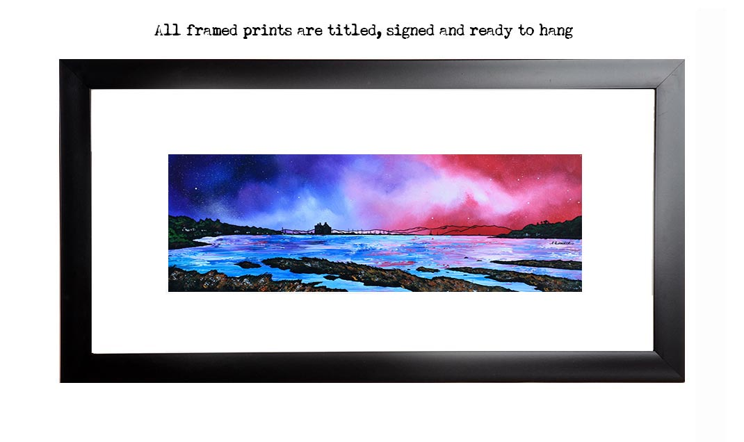 Framed print of Lochranza Castle, Arran, Scotland. From an original painting.
