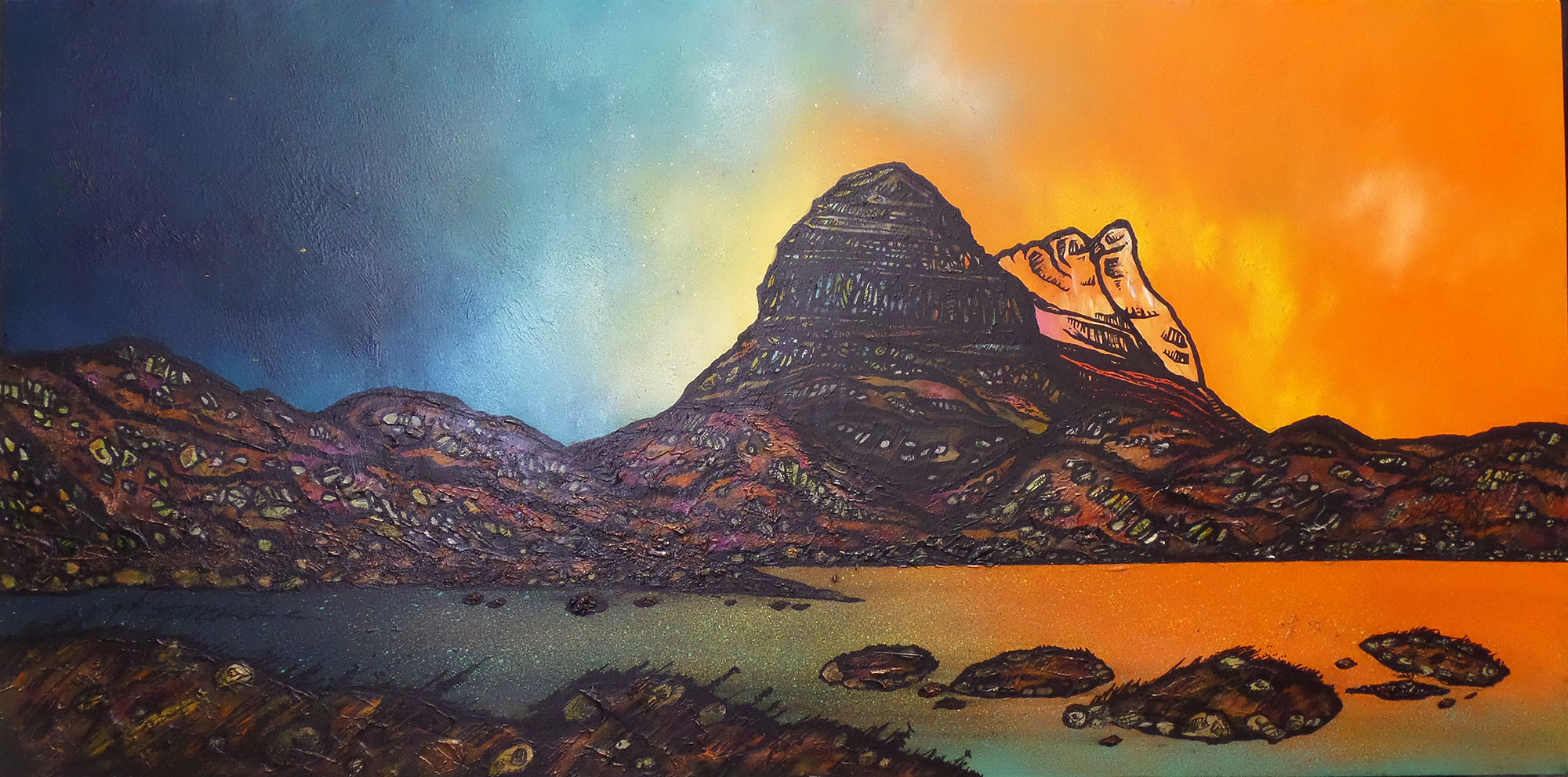 Suilven painting & prints, Assynt, Lochinver, Scotland.