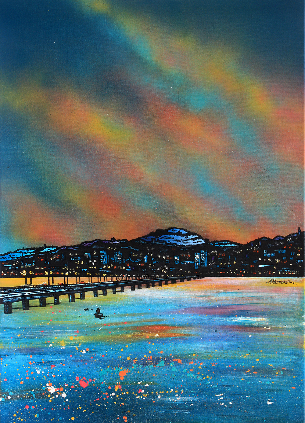 Dundee & The Tay bridge, Scotland. Painting and prints by Scottish contemporary landscape artist A Peutherer.