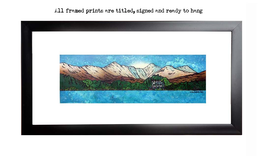 Framed print of the Ardanaiseig Hotel from Loch Awe, Scottish Highlands