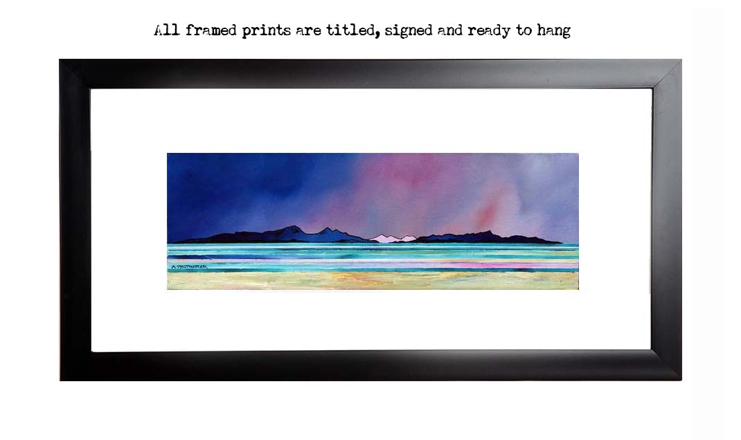 Framed print of Rum & Eigg From Arisaig, Scotland.