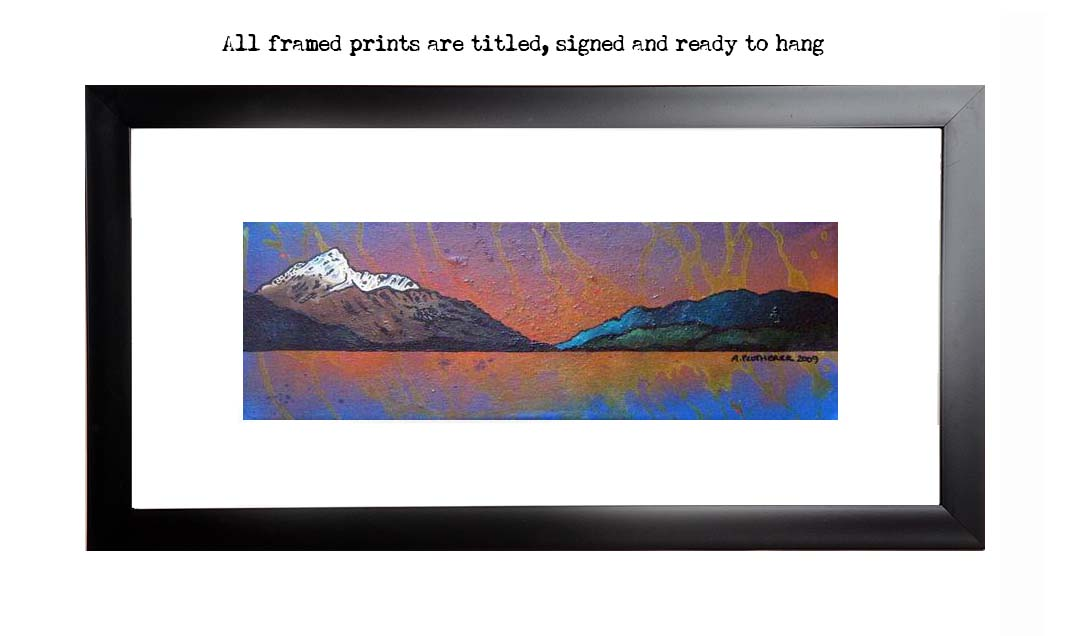 Framed print of Ben Lomond Autumn Sunset, Loch lomond, The Trossachs, Scotland.