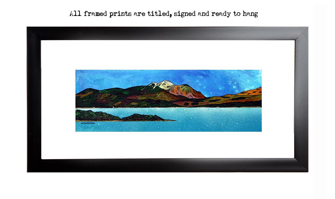 Ben Nevis, loch linnhe, fortwilliam print from an original Scottish landscape painting by Glasgow artist A Peutherer. Original mixed media painting in acrylic paint, spray paint, oil paint and acrylic ink on box canvas.